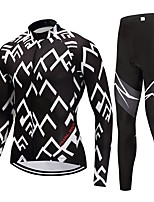 Cycling Jersey with Tights Unisex Long Sleeves Bike Clothing Suits Fast Dry Graphic Winter Cycling/Bike Black