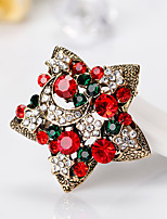 Women's Brooches Cute Style Personalized Rhinestone Alloy Star Jewelry For Gift Christmas