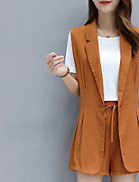 Women's Going out Casual/Daily Street chic Summer Shirt Pant Suits,Solid Peter Pan Collar Sleeveless