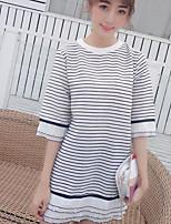 Tee-shirt Femme,Rayé Décontracté / Quotidien simple Demi Manches Col Arrondi Coton