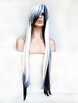 Femme Perruque Synthétique Sans bonnet Long Raide Blanc Avec Frange Perruque de fête Perruque Halloween Perruque Déguisement