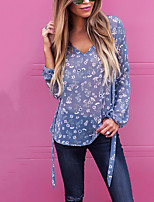 Women's Daily Holiday Casual Street chic Fall T-shirt,Floral V Neck Long Sleeves Polyester