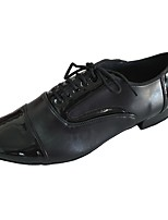 Men's Latin Leather Leatherette Heel Indoor Black