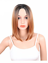 Women Synthetic Wig Capless Medium Length Straight Brown Ombre Hair Dark Roots Middle Part Bob Haircut Party Wig Celebrity Wig Natural
