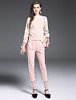 Women's Daily Work Sophisticated Fall Sweater Pant Suits,Solid Boat Neck Long Sleeve Polyester Nylon