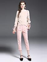 Damen Solide Anspruchsvoll Lässig/Alltäglich Arbeit Pullover Hose Anzüge,Bateau Herbst Lange Ärmel