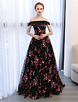 Ball Gown Off-the-shoulder Court Train Lace Satin Formal Evening Dress with by Embroidered bridal