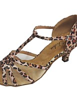 Women's Latin Satin Sandal Indoor Customized Heel Black Almond Leopard