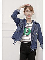 Women's Going out Simple Fall Denim Jacket,Solid Square Neck Long Sleeve Regular Cotton