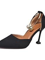 Для женщин Обувь Искусственное волокно Осень Удобная обувь Обувь на каблуках На шпильке Заостренный носок Назначение Повседневные Черный