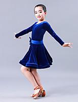 Latin Dance Dresses Children's Performance Velvet Chiffon Bow(s) 1 Piece Long Sleeve Dresses