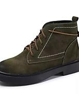Mujer Zapatos Ante Semicuero PU Primavera Otoño Confort Botas de Moda Botas Tacón Plano Dedo redondo Mitad de Gemelo Con Cordón Para