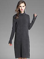 Tricot Robe Femme Sortie Décontracté / Quotidien Couleur Pleine Col Roulé Mi-long Manches Longues Polyester Automne Taille Normale