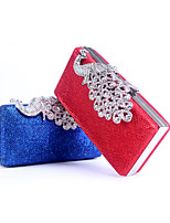 Women Bags All Seasons leatherette Evening Bag Buttons Crystal Detailing for Wedding Event/Party White Black Silver Red Royal Blue