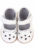Girls' Shoes Real Leather Spring Fall Comfort Flats For Casual White