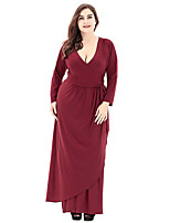 Women's Party Plus Size Going out Casual/Daily Vintage Simple Sophisticated A Line Loose Dress,Solid V Neck Maxi Long Sleeves Polyester