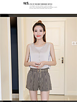 Women's Casual/Daily Simple Summer Blouse Pant Suits,Striped Round Neck Sleeveless