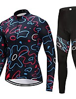 Cycling Jersey with Tights Unisex Long Sleeves Bike Clothing Suits Fast Dry Floral / Botanical Winter Cycling/Bike Black