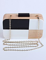 Women Bags Wood Clutch Buttons for Event/Party All Seasons Black/White