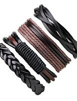 Homme Femme Bracelets Bracelets en cuir Bohême Ajustable Cuir Forme Ronde Bijoux Pour Décontracté Sortie