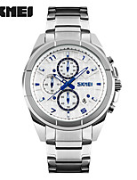 SKMEI Men's Sport Watch Fashion Watch Wrist watch Quartz Stainless Steel Band Silver