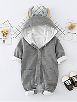 Baby Solid Color One-Pieces,Cotton Fall Winter Long Sleeve