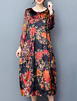 Women's Plus Size Going out Simple Loose Dress,Floral Round Neck Midi Long Sleeves Velvet Fall Mid Rise Inelastic Medium