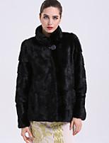 Manteau en Fourrure Femme,Couleur Pleine Décontracté / Quotidien Sophistiqué Hiver Mao Normal Fourrure de renard