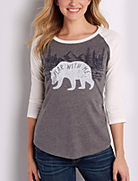 Women's Daily Holiday Fall T-shirt,Letter Round Neck 3/4 Length Sleeves Polyester
