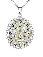 Women's Pendant Necklaces Chain Necklaces Cubic Zirconia Oval Flower Zircon Silver Plated Fashion Hypoallergenic Jewelry For Christmas