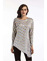 Women's Daily Holiday Street chic Winter Fall T-shirt,Print Round Neck Long Sleeves Cotton Thin