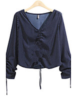 Women's Daily Going out Casual Street chic Fall Shirt,Polka Dot V Neck Long Sleeves Polyester