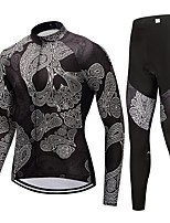 Cycling Jersey with Tights Unisex Long Sleeves Bike Clothing Suits Fast Dry Skull Winter Cycling/Bike Black