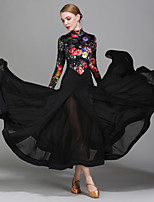 Ballroom Dance Dresses Women's Performance Chiffon Satin Velvet Ice Silk Pattern/Print 1 Piece Long Sleeve Natural Dress