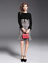 Damen Sonstiges Einfach Ausgehen Lässig/Alltäglich Kleid Anzüge,Rundhalsausschnitt Herbst Lange Ärmel