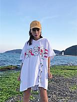 T-shirt Da donna Per uscire Moda città Estate,Con stampe Rotonda Cotone Manica corta Sottile