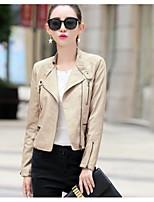 Feminino Jaqueta jeans Para Noite Casual Moda de Rua Outono Inverno,Sólido Curto Poliuretano Colarinho Chinês Manga Longa