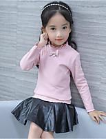 Mädchen T-Shirt einfarbig Baumwolle Polyester Herbst Winter