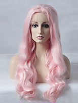 Women Synthetic Wig Lace Front Long Wavy Pink Updo Natural Wigs Costume Wig