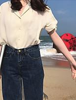 Для женщин Офис Лето Футболка V-образный вырез,Уличный стиль Однотонный С короткими рукавами,Лён,Плотная