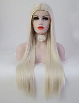 Women Synthetic Wig Lace Front Medium Length Long Straight Platinum Blonde Middle Part Sew in Natural Wigs Costume Wig