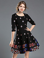 Women's Daily Going out Cute Casual Street chic A Line Sheath Swing Dress,Embroidered Round Neck Above Knee Half Sleeves Polyester Fall