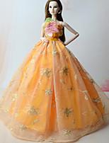 Dresses Dresses For Barbie Doll Orange Dresses For Girl's Doll Toy