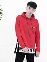 Men's Daily Hoodie Color Block Letter Hooded Micro-elastic Cotton Polyester Long Sleeve Fall