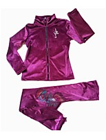 Figure Skating Fleece Jacket Women's Girls' Ice Skating Dress Peach Violet Stretchy Performance Practise Stretchy Long Sleeves Skating