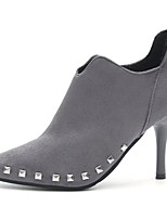 Women's Shoes PU Fall Comfort Heels Stiletto Heel Pointed Toe Rivet For Casual Gray Black