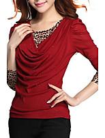T-shirt Da donna Casual Primavera Autunno,Leopardata Monocolore Rotonda Poliestere Manica lunga Medio spessore