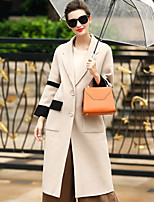 Women's Daily Work Simple Casual Winter Fall Coat,Solid Notch Lapel ¾ Sleeve Long Wool Patchwork