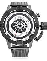 abordables -Hombre Reloj de Moda Reloj de Pulsera Chino Cuarzo Dos Husos Horarios Esfera Grande Metal Banda Casual Cool Negro