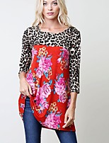 Women's Daily Winter Fall T-shirt,Print Leopard Round Neck 3/4 Length Sleeves Cotton Rayon Thin
